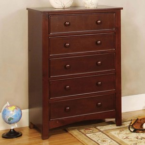 Transitional Wood Chest with Round Drawer Knobs