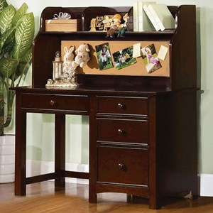 Transitional Desk and Hutch with Built-In Corkboard