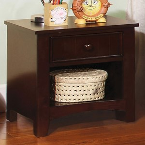 Transitional Night Stand with Open Storage Compartment