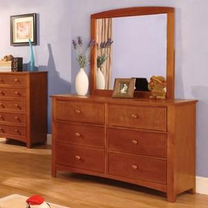 Transitional Dresser and Mirror Set
