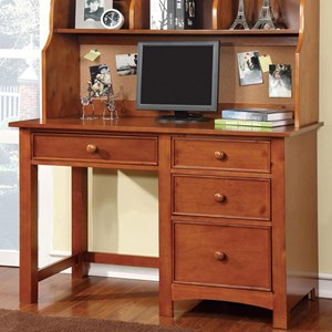 Transitional Desk with Round Drawer Knobs