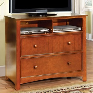 Transitional Media Chest with Open Storage Compartments