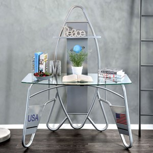 Youth Bedroom Rocket Ship Astronaut Desk with USB and AC Power Outlets