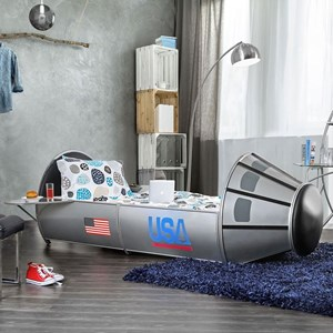 Full Size Rocket Ship Astronaut Bed with Storage
