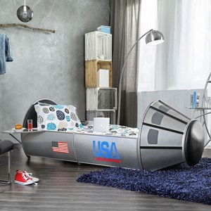 Twin Size Rocket Ship Astronaut Bed with Storage