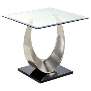 Contemporary End Table with Square Glass Top