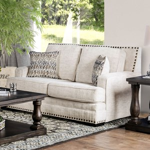Transitional Love Seat with Nailhead Trim