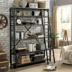 Industrial Bookshelf with Ladder
