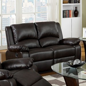 Casual Faux Leather Reclining Loveseat