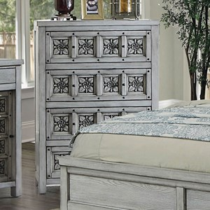 Transitional Chest with Floral Inlay Design