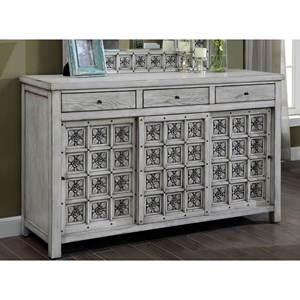 Transitional Dresser with Floral Inlay Design