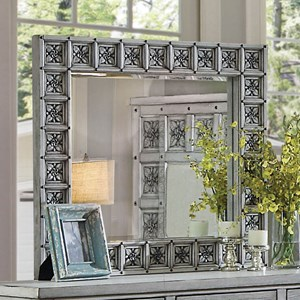 Transitional Mirror with Floral Inlay Frame Design