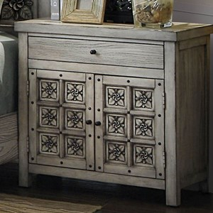 Transitional Nightstand with Floral Inlay Design