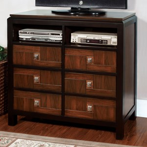 Transitional Media Chest with 2 Shelves