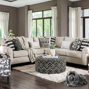 Contemporary Sectional with Rolled Arms