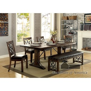 Traditional Dining Set with Six Chairs