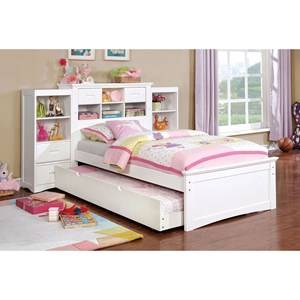 Twin Bookcase Bed with Trundle, Reading Light, USB & AC Outlets