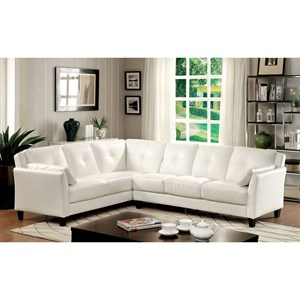 Faux Leather Sectional Sofa with Flared Arms