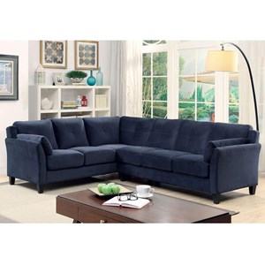 Modern Sectional Sofa with Flared Arms in Flannel-Like Fabric