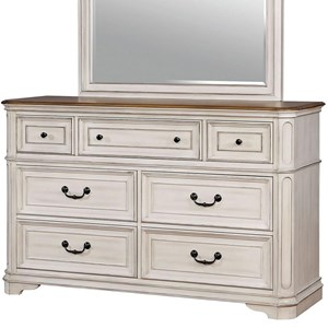 Traditional White 7-Drawer Dresser