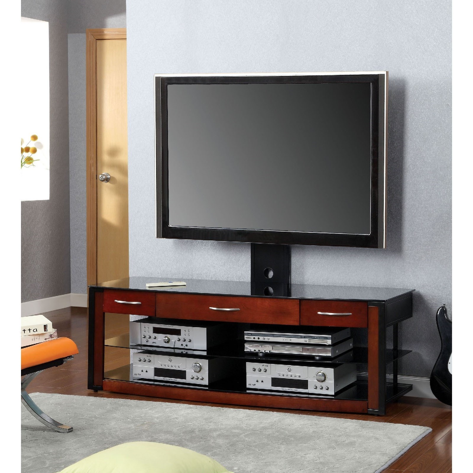 "Penarth II 60"" Glass Top TV Console by Furniture of America at Corner Furniture"