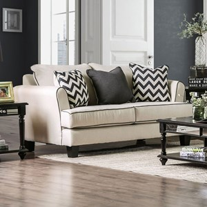 Transitional Love Seat with Accent Welt Trim