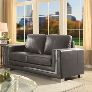 Contemporary Love Seat with Stainless Steel Trim