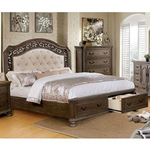 Traditional California King Bed with Footboard Storage