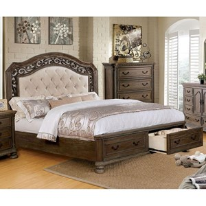 Traditional King Bed with Footboard Storage