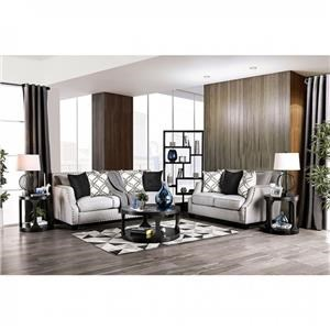 Transitional Ivory Nailhead Trim Living Room Group 1