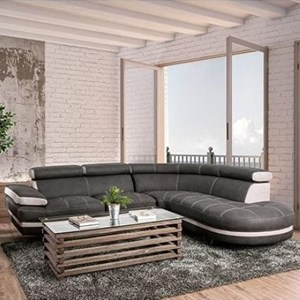 Contemporary L-Shaped Sectional with Adjustable Headrests