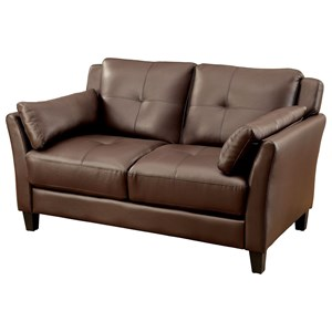 Contemporary Loveseat with Inner Armrest Cushioning