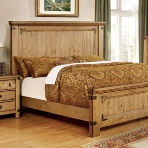 Cottage Style Eastern King Bed with Metal Accents