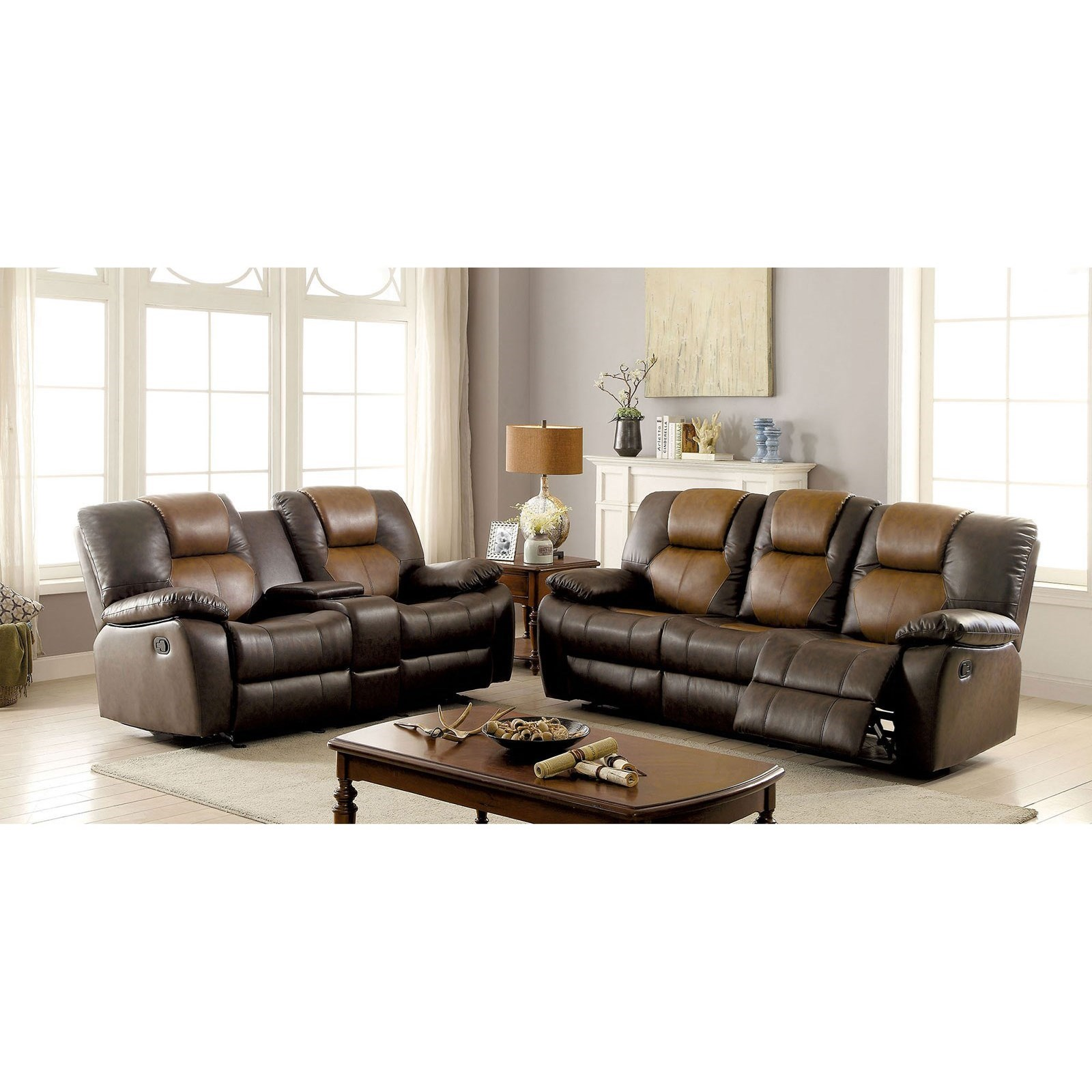 Pollux Reclining Sofa and Love Seat and Chair by Furniture of America - FOA at Del Sol Furniture