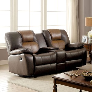 Casual Two Tone Reclining Loveseat with Cupholder Storage Console