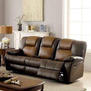 Casual Two Tone Reclining Sofa with Drop Down Table and Cupholders