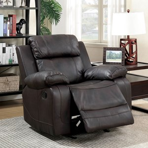 Padded Recliner with Pillow Arms