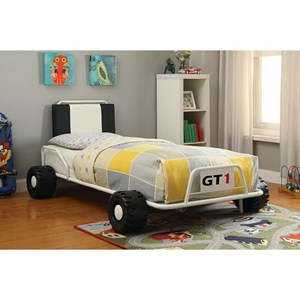 Upholstered Twin Racer Bed with Replica Wheels