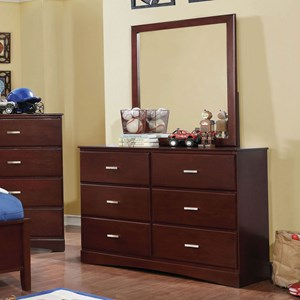 Transitional 6 Drawer Dresser and Mirror Combo