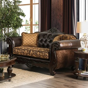 Traditional Love Seat with Rolled Arms