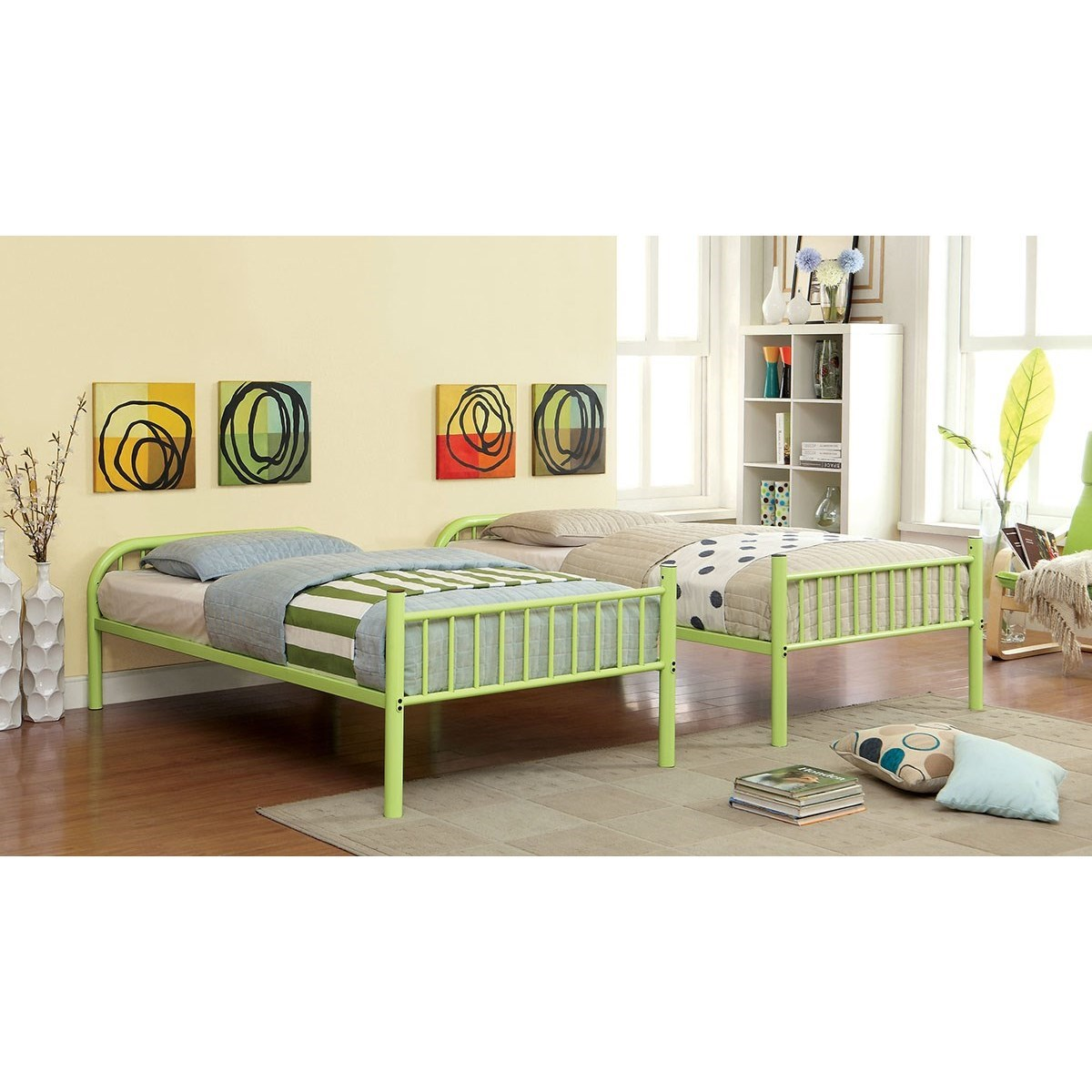 Rainbow Metal Twin/Twin Bunk Bed by Furniture of America at Nassau Furniture and Mattress