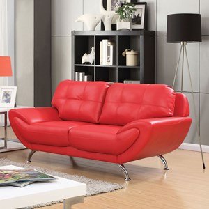 Contemporary Love Seat with Tufted Back Cushion