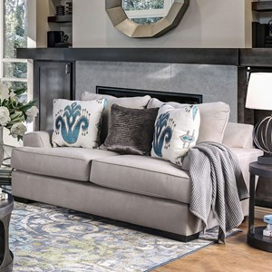Contemporary Oversized Love Seat with Chunky Arms