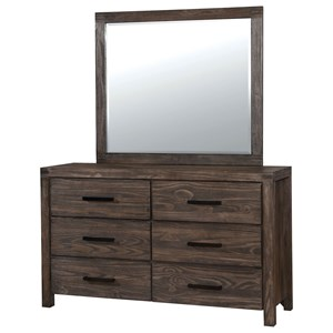 Transitional Dresser and Mirror Combination with 6 Drawers