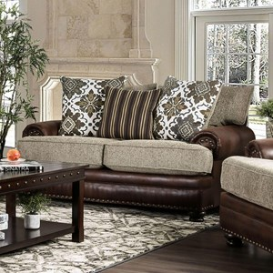 Traditional 2-Tone Love Seat with Nailhead Trim