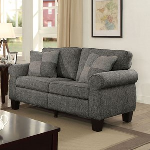 Transitional Rolled Arm Love Seat