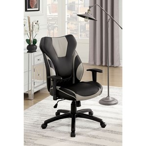Contemporary Office Chair with Casters and Adjustable Armrests