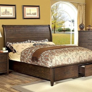 Rustic California King Bed with Footboard Storage Drawers
