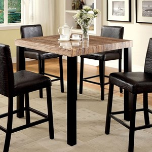 Square Counter Height Dining Table with Faux Marble Top