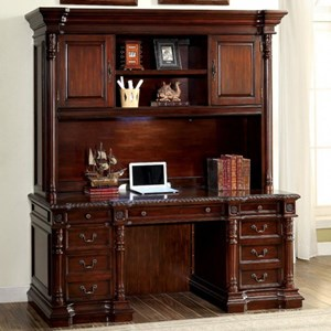 Traditional Desk and Hutch with Built-In Lighting